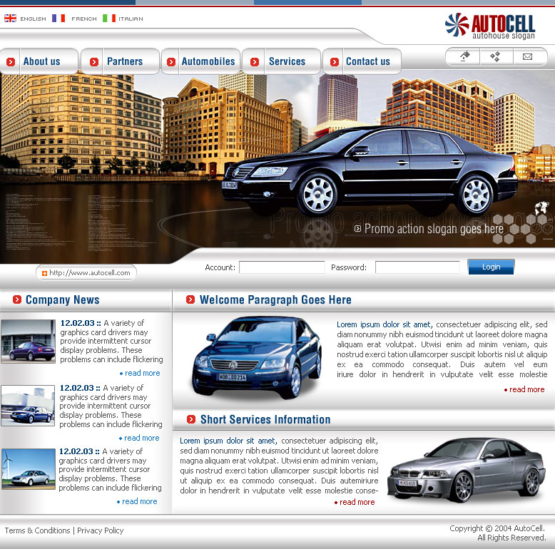 Auto Action Website Samples